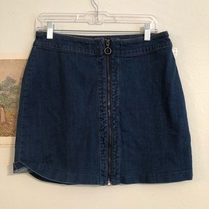 H&M zipper front denim mini skirt